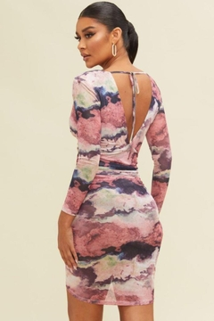 luxxel Multi Tiedye Ruched Dress - Alternate List Image
