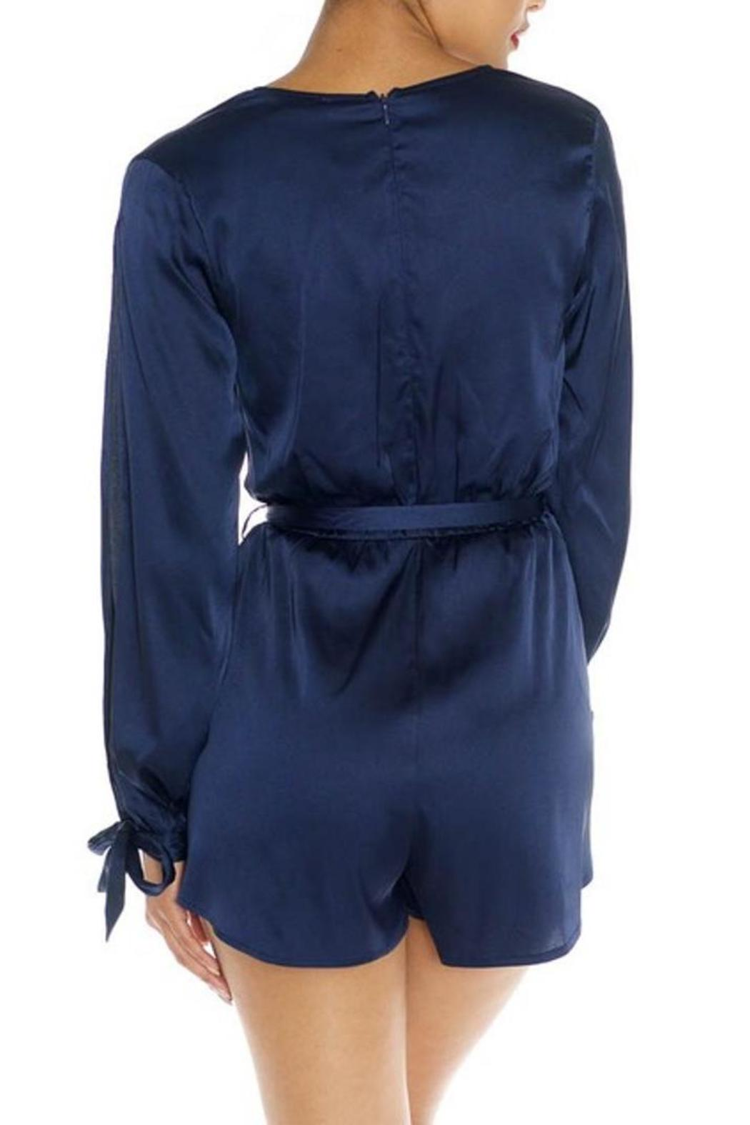 fcf0e922a982 luxxel Navy Satin Romper from Miami by Secret Vanity — Shoptiques