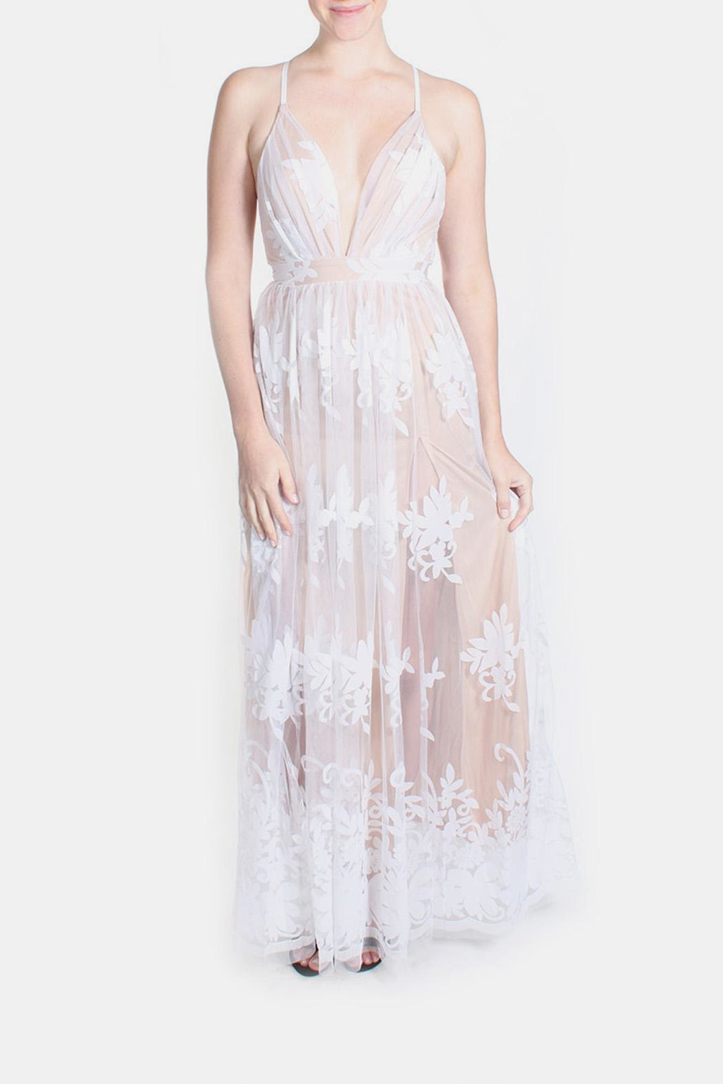 luxxel Nude Monochrome Floral Gown - Front Full Image