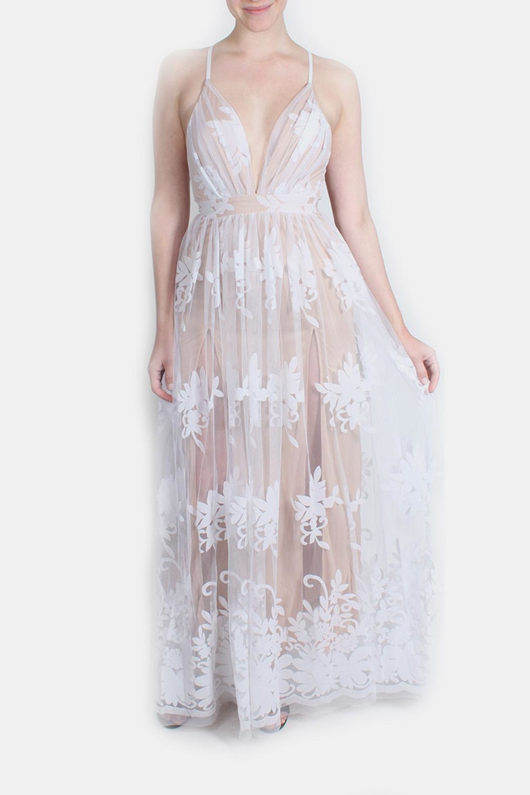 luxxel Nude Monochrome Floral Gown - Main Image