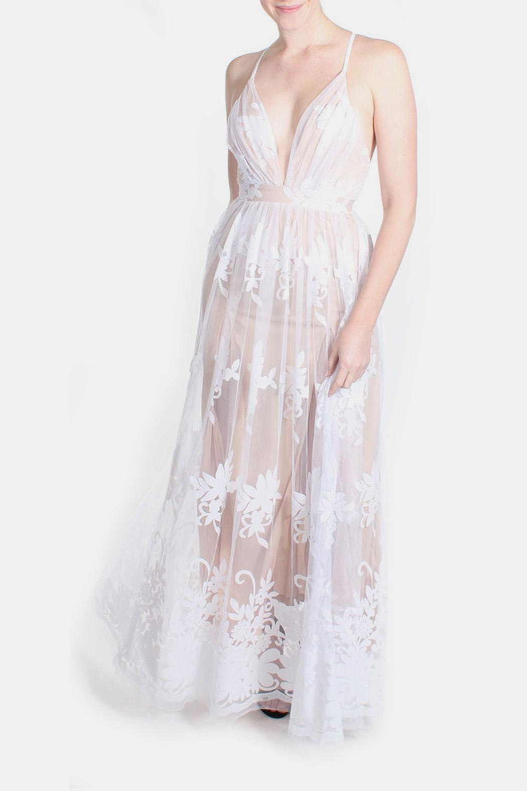 luxxel Nude Monochrome Floral Gown - Side Cropped Image
