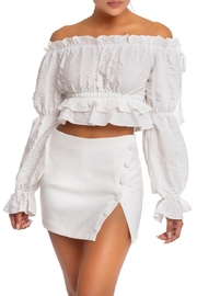 luxxel Off-Shoulder Crinkle Blouse - Front cropped