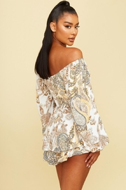 luxxel Off-Shoulder Paisley Romper - Front full body