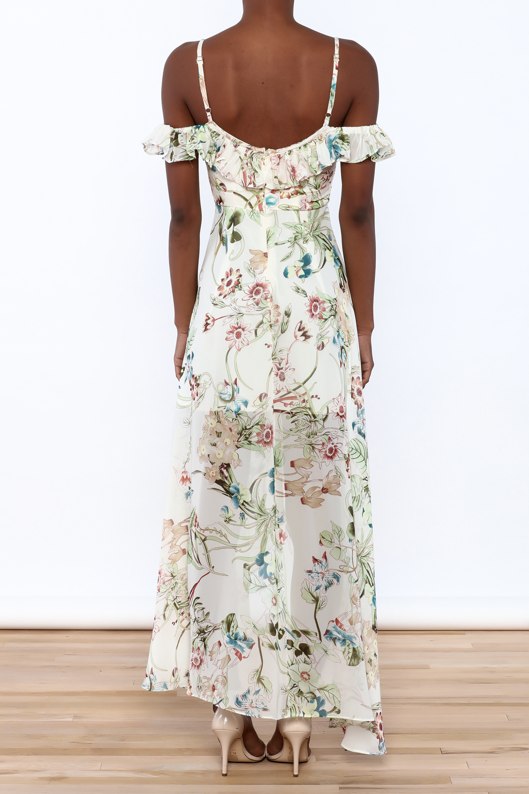 luxxel Off Shoulder Ruffle Maxi - Back Cropped Image