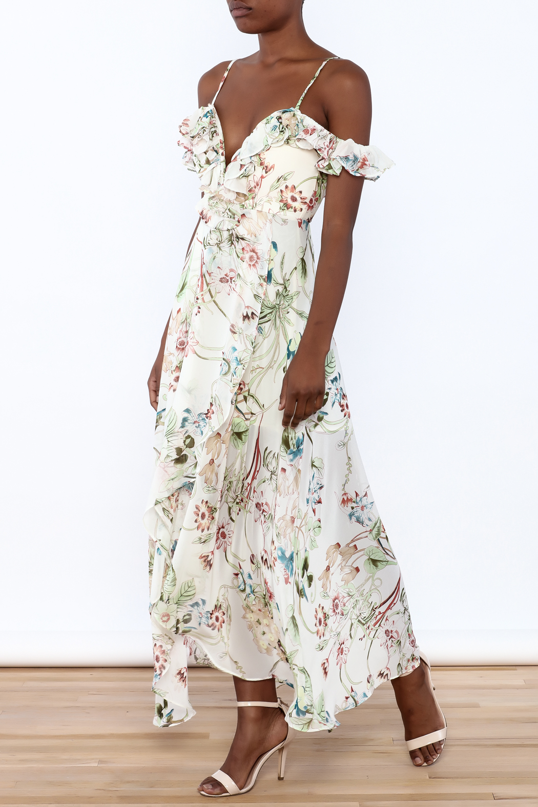 luxxel Off Shoulder Ruffle Maxi - Front Full Image