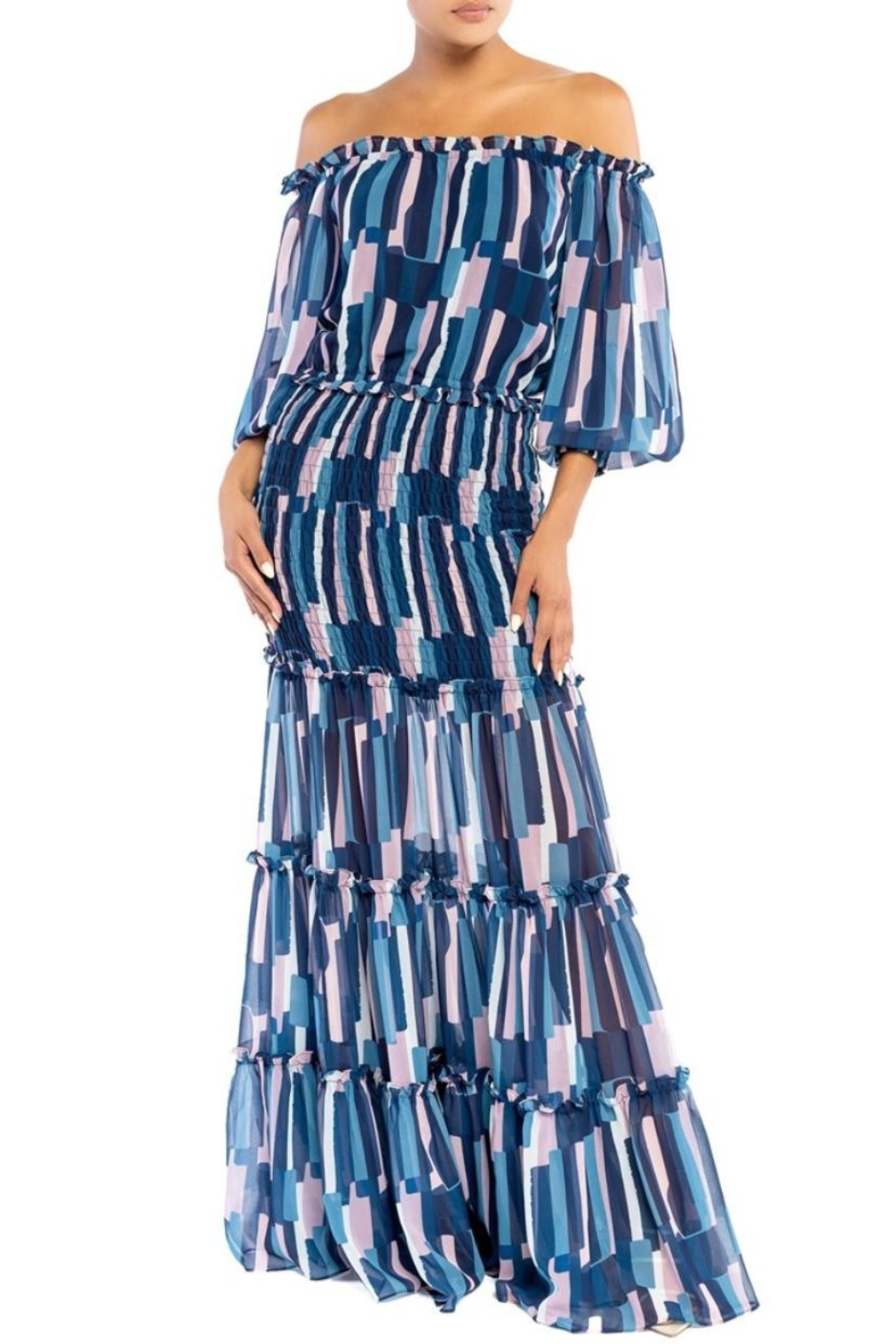 luxxel Off-Shoulder Striped Maxi - Main Image