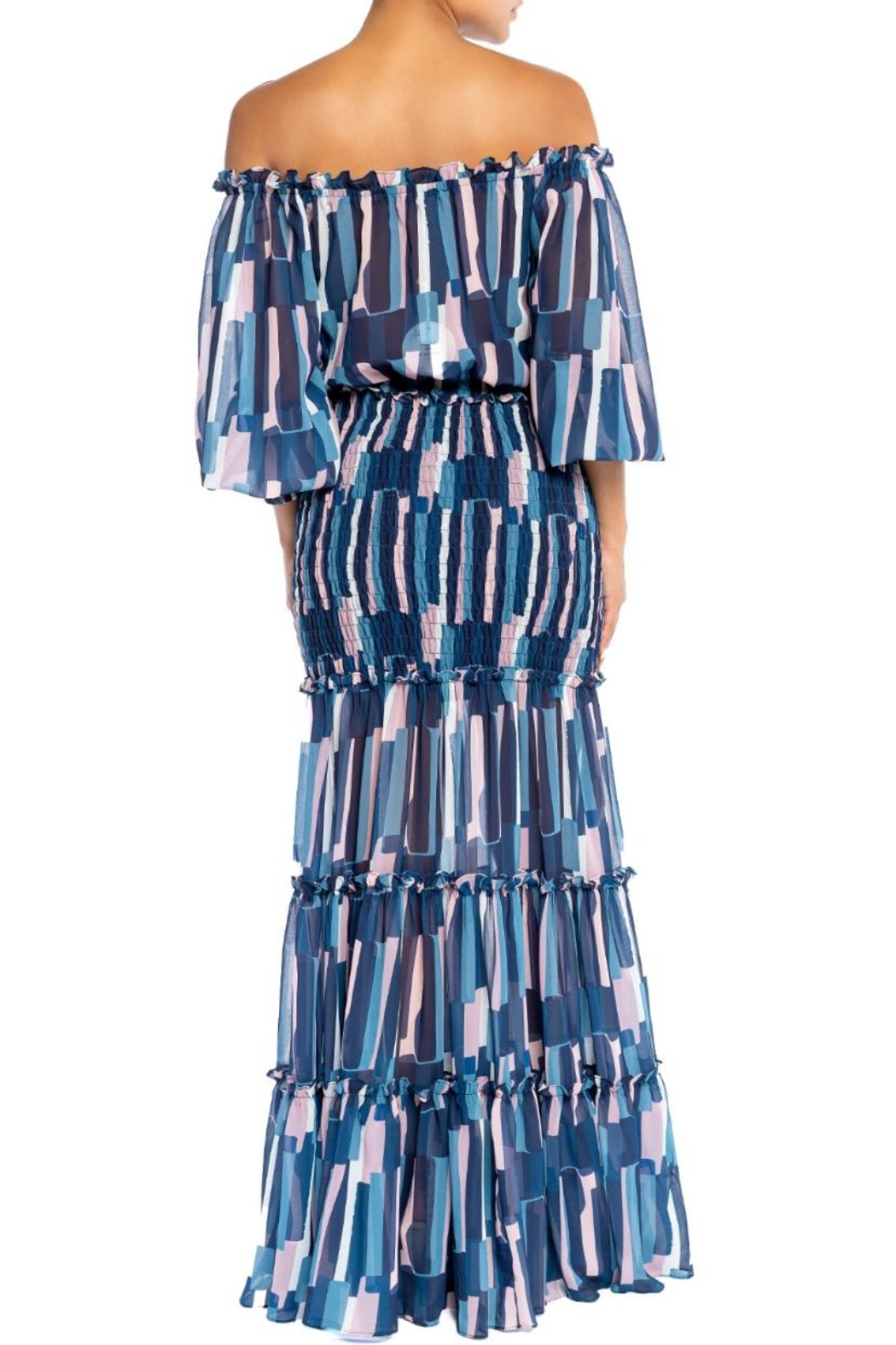 luxxel Off-Shoulder Striped Maxi - Front Full Image