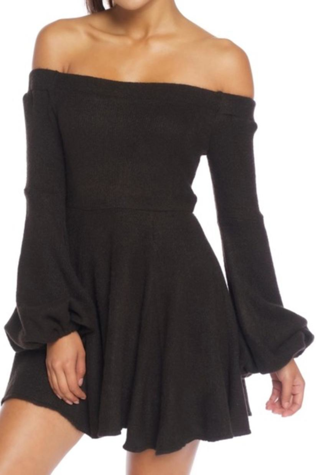luxxel Off-Shoulder Sweater Dress - Front Cropped Image