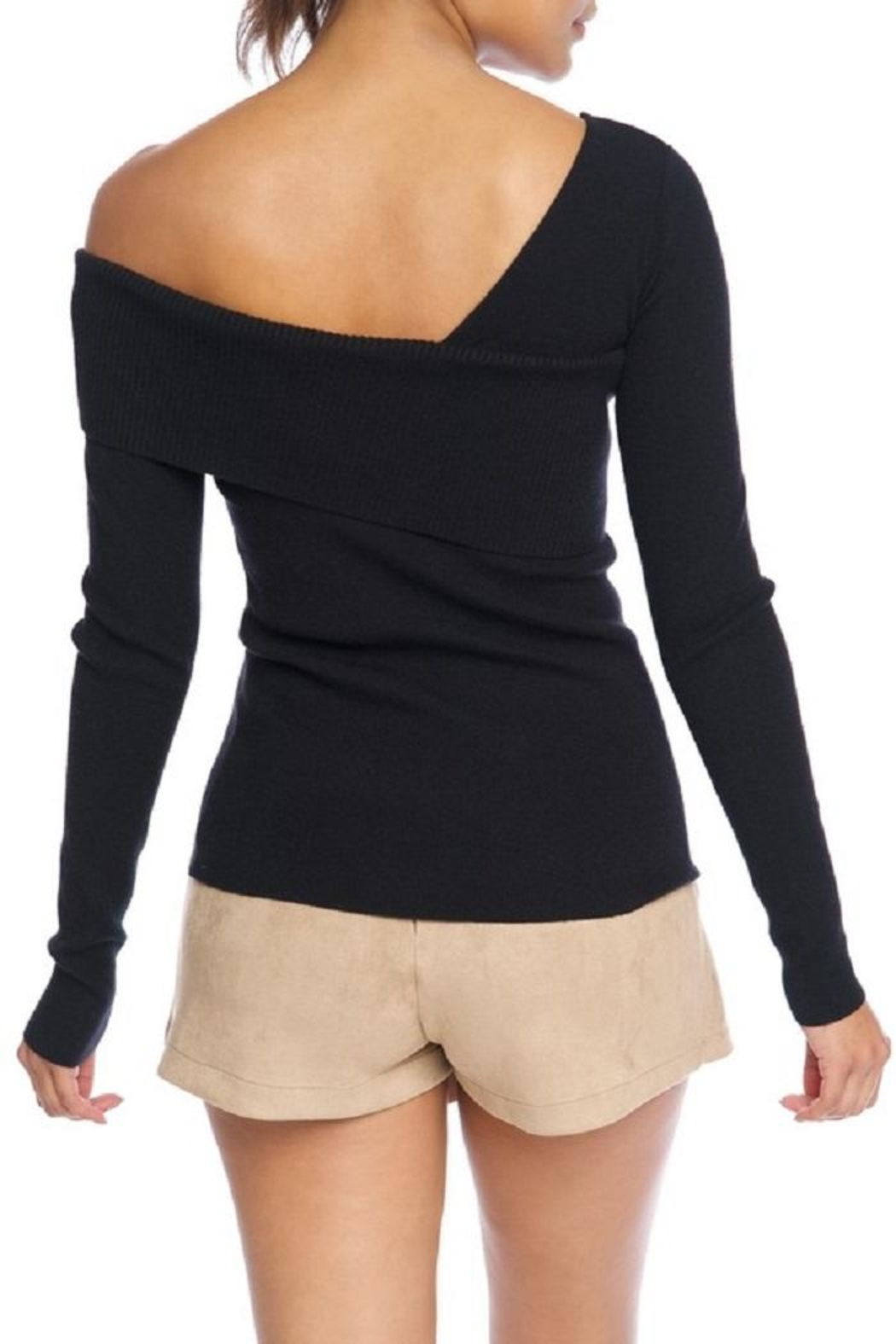 luxxel One Shoulder Sweater - Front Full Image
