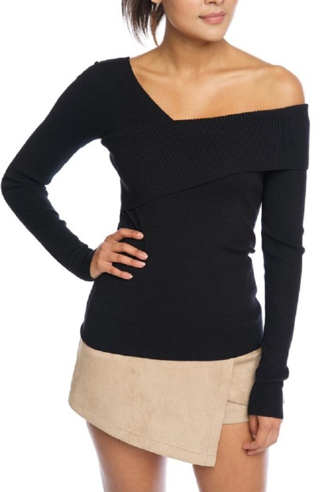 luxxel One Shoulder Sweater - Front Cropped Image