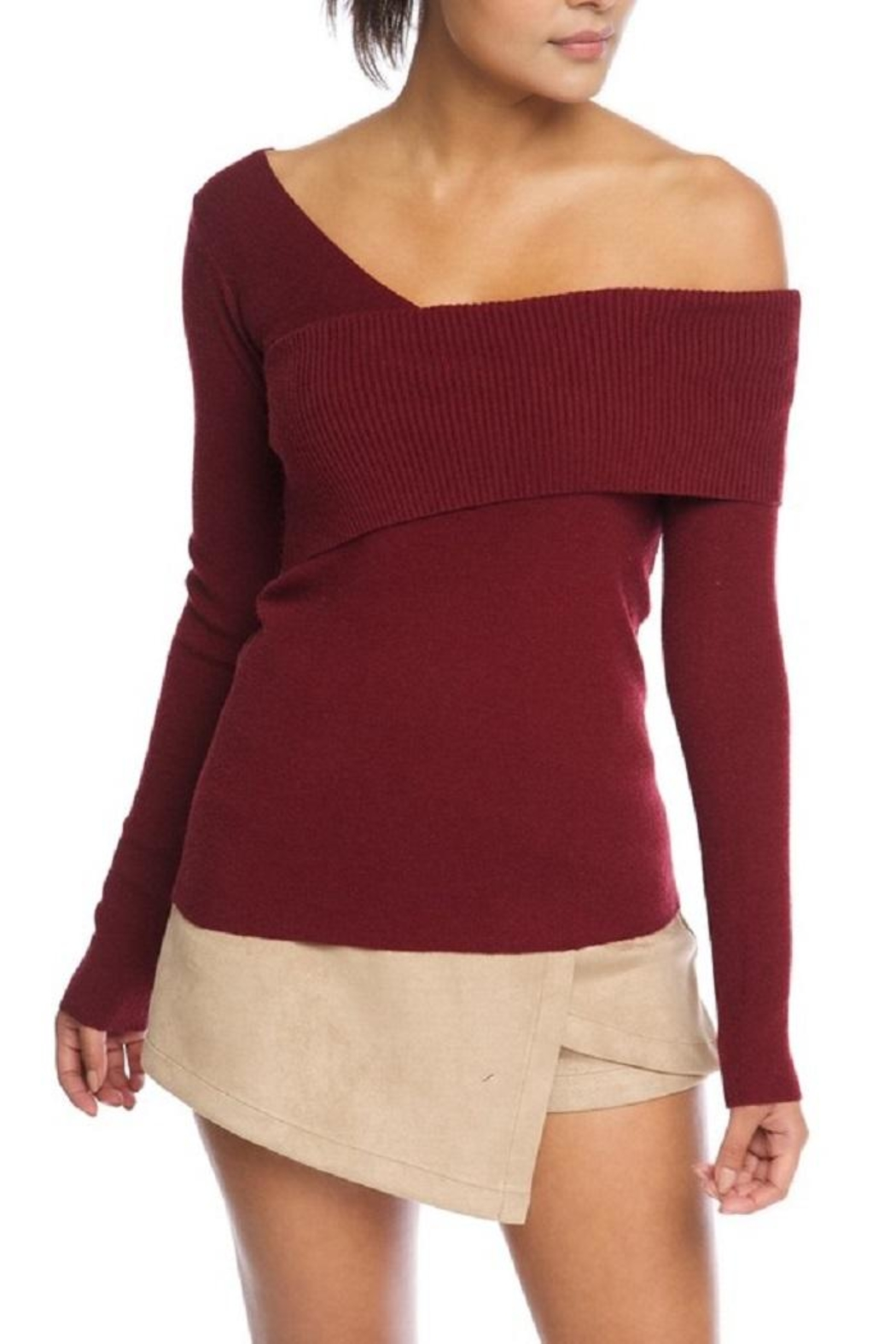 luxxel One Shoulder Sweater - Main Image