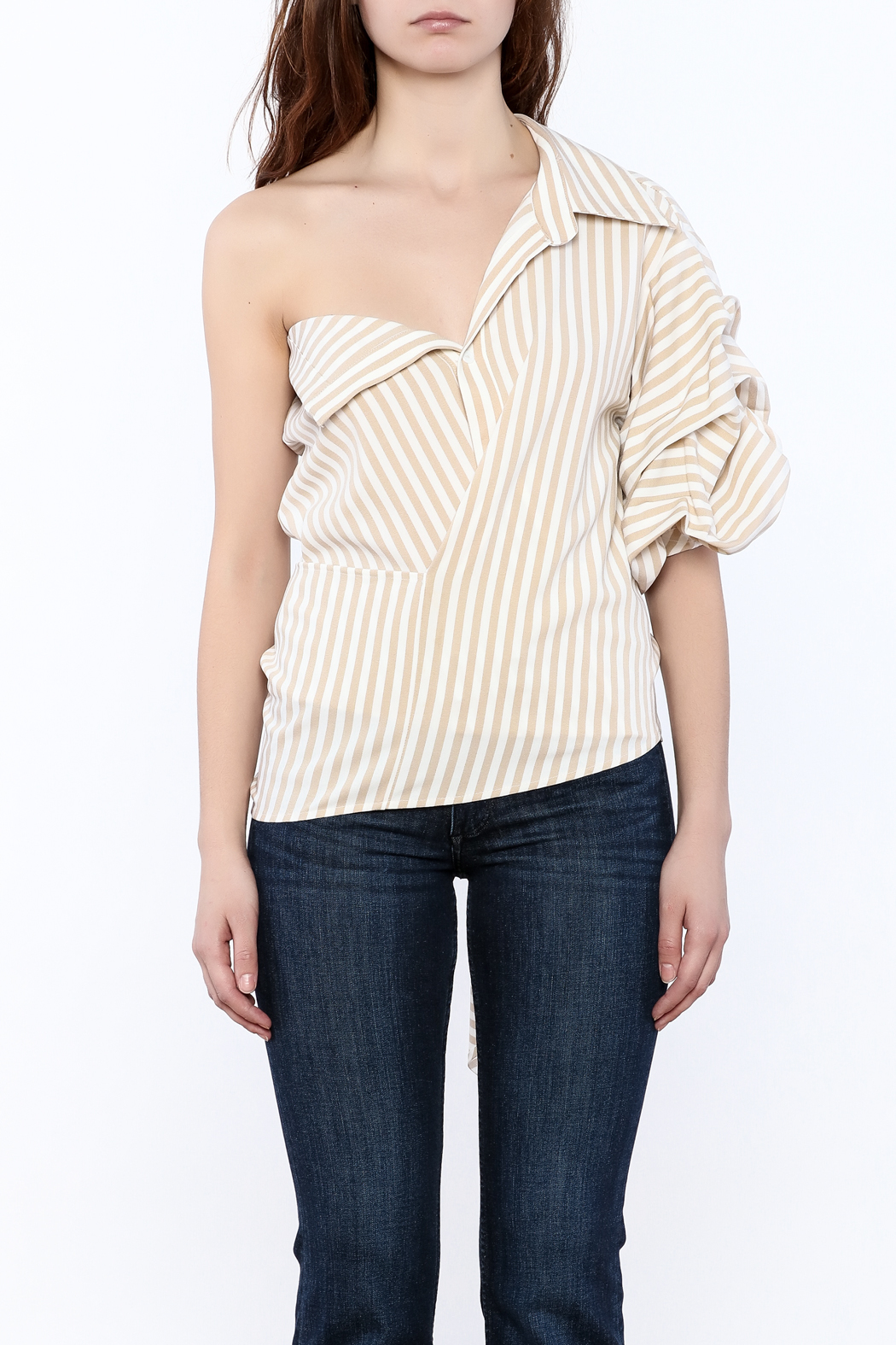 This is the product page for: One Shoulder Top FREE SHIPPING* FREE RETURNS Image carousel, press Enter to cycle through the images, press the Z key to zoom in and out of an image.