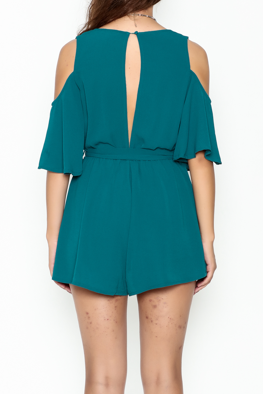 luxxel Open Shoulder Romper - Back Cropped Image