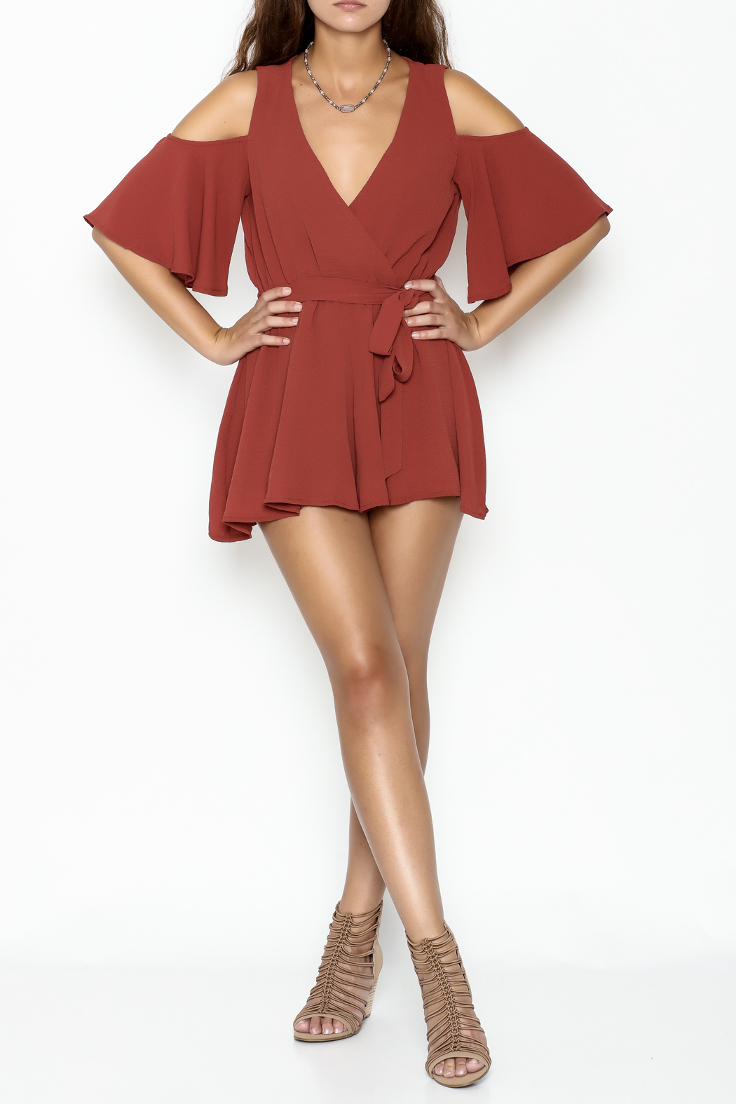 luxxel Open Shoulder Romper - Side Cropped Image