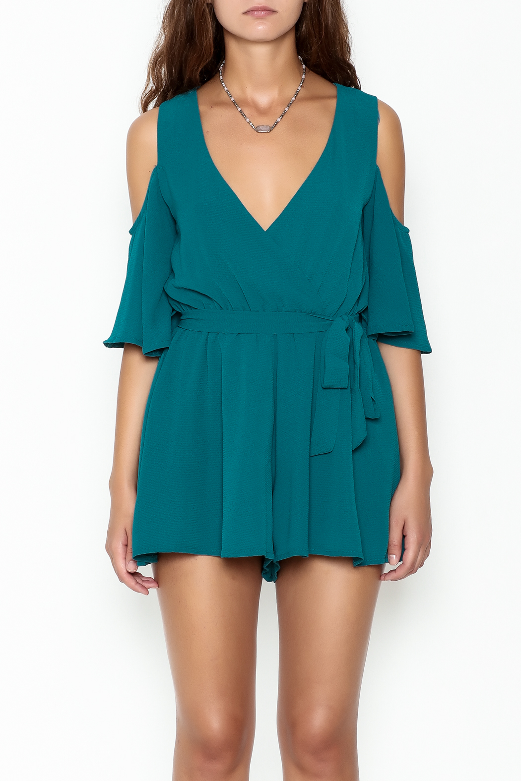 luxxel Open Shoulder Romper - Front Full Image