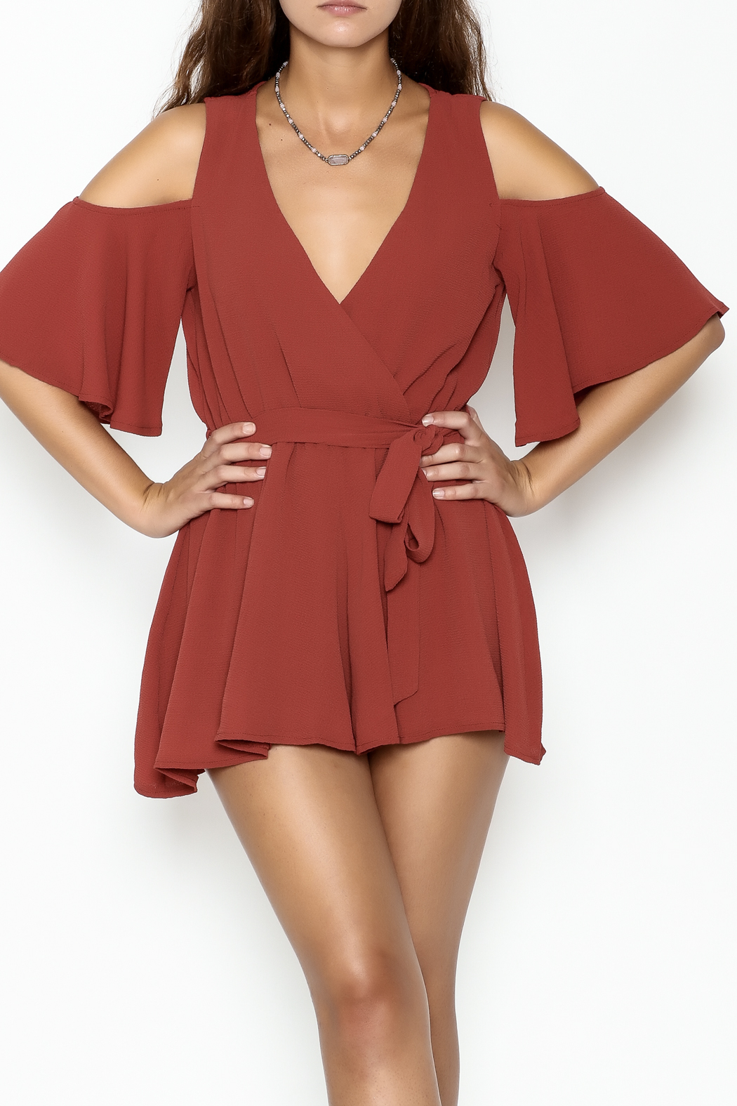 luxxel Open Shoulder Romper - Front Cropped Image