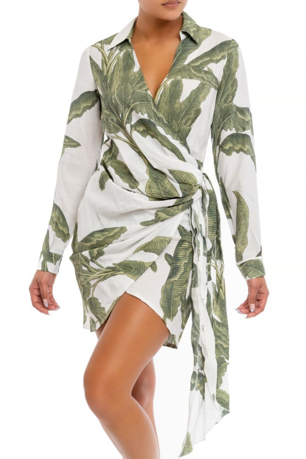 luxxel Palms Mini Dress - Front Cropped Image