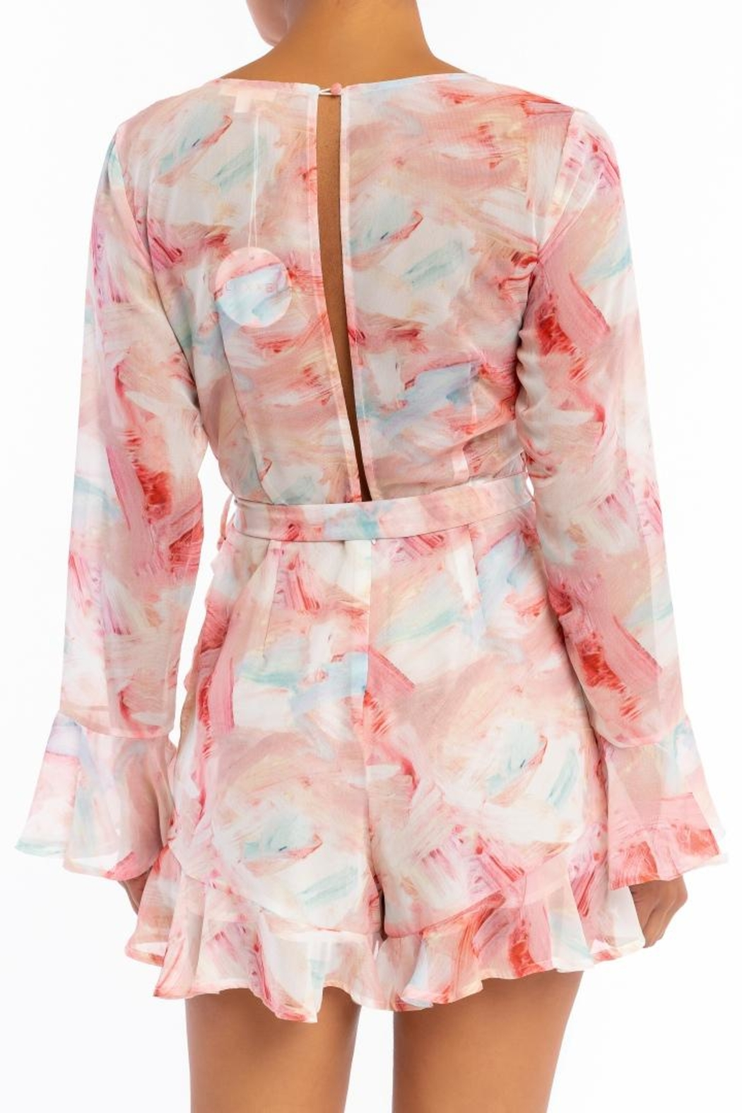 luxxel Pastel Wrap Romper - Front Full Image