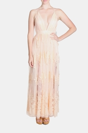luxxel Pink Monochrome Floral Gown - Front full body