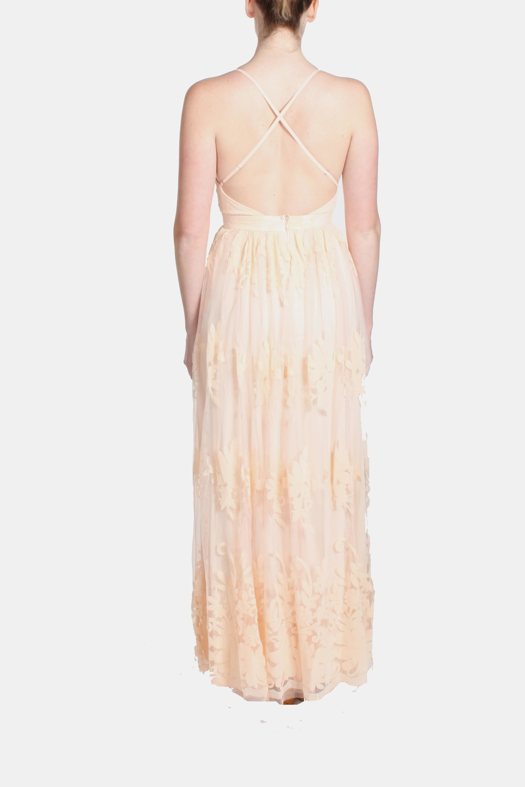 luxxel Pink Monochrome Floral Gown - Back Cropped Image