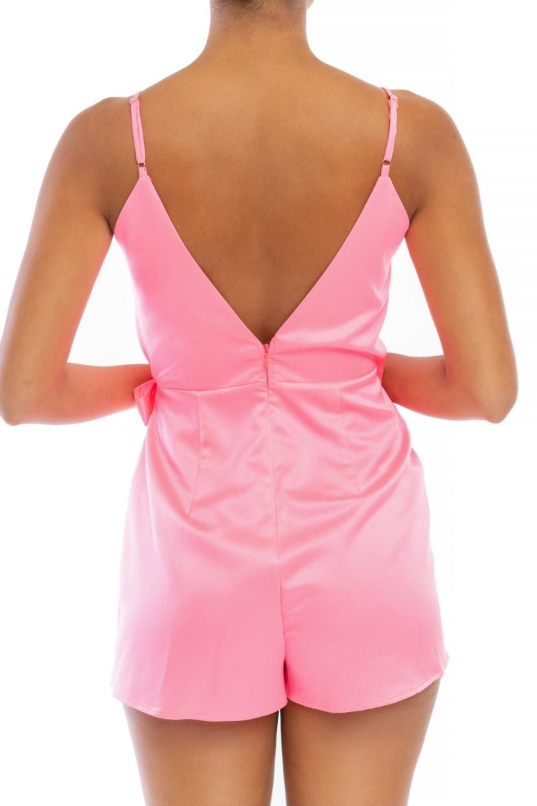 luxxel Pink Wrap Romper - Front Full Image