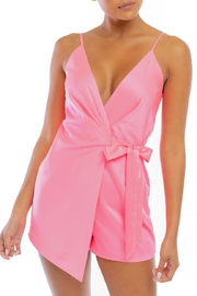 luxxel Pink Wrap Romper - Front cropped