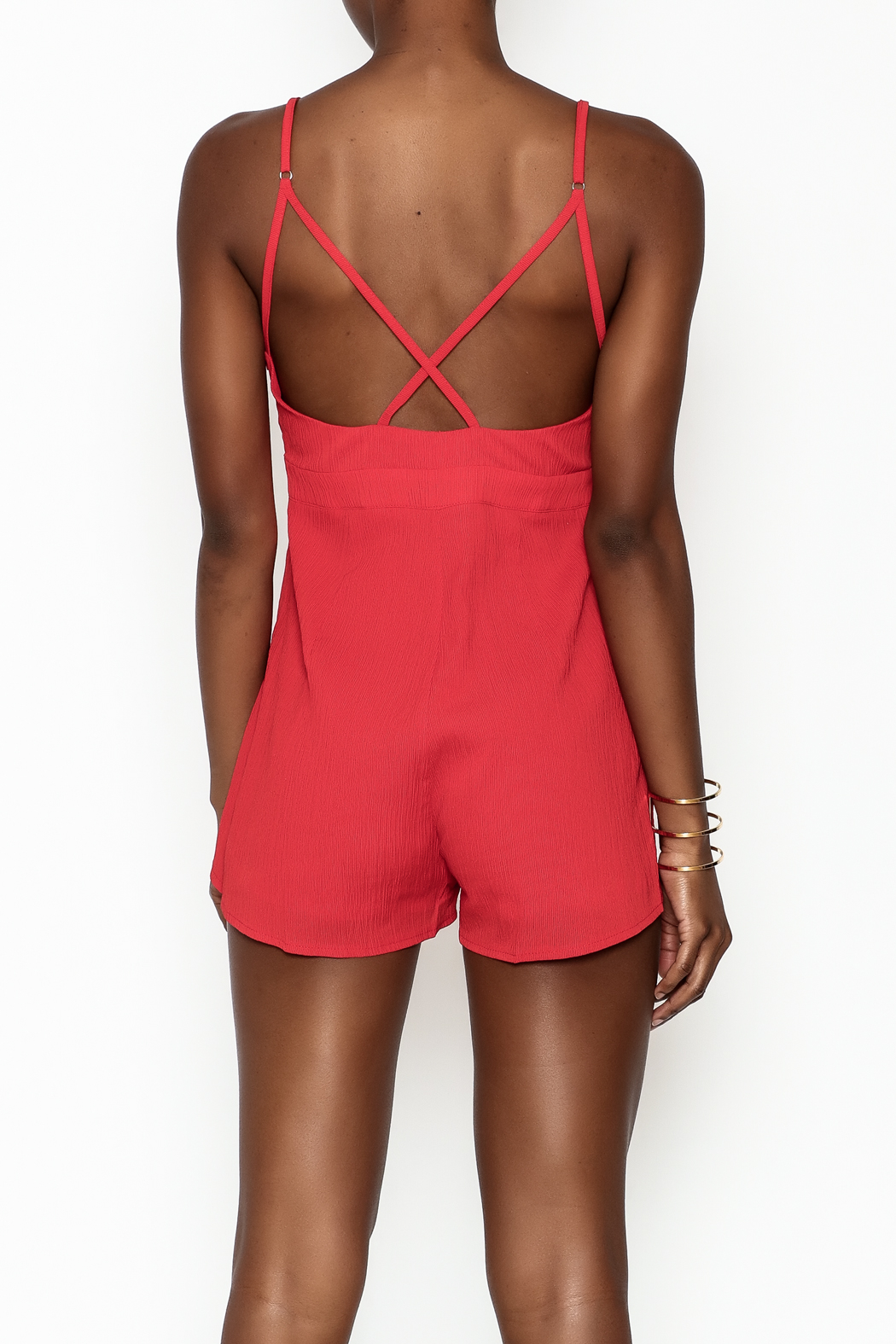 luxxel Pleated Crepe Romper - Back Cropped Image