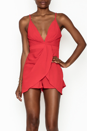 luxxel Pleated Crepe Romper - Front cropped