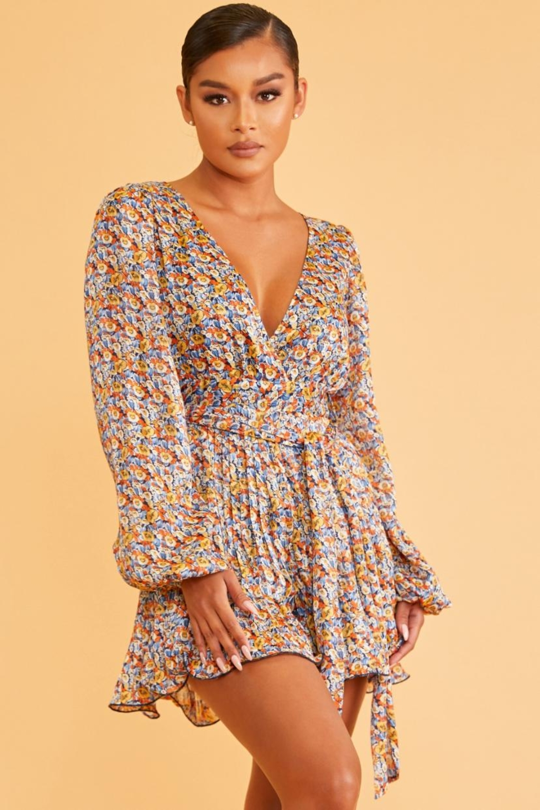 luxxel Pleated Floral Romper - Main Image