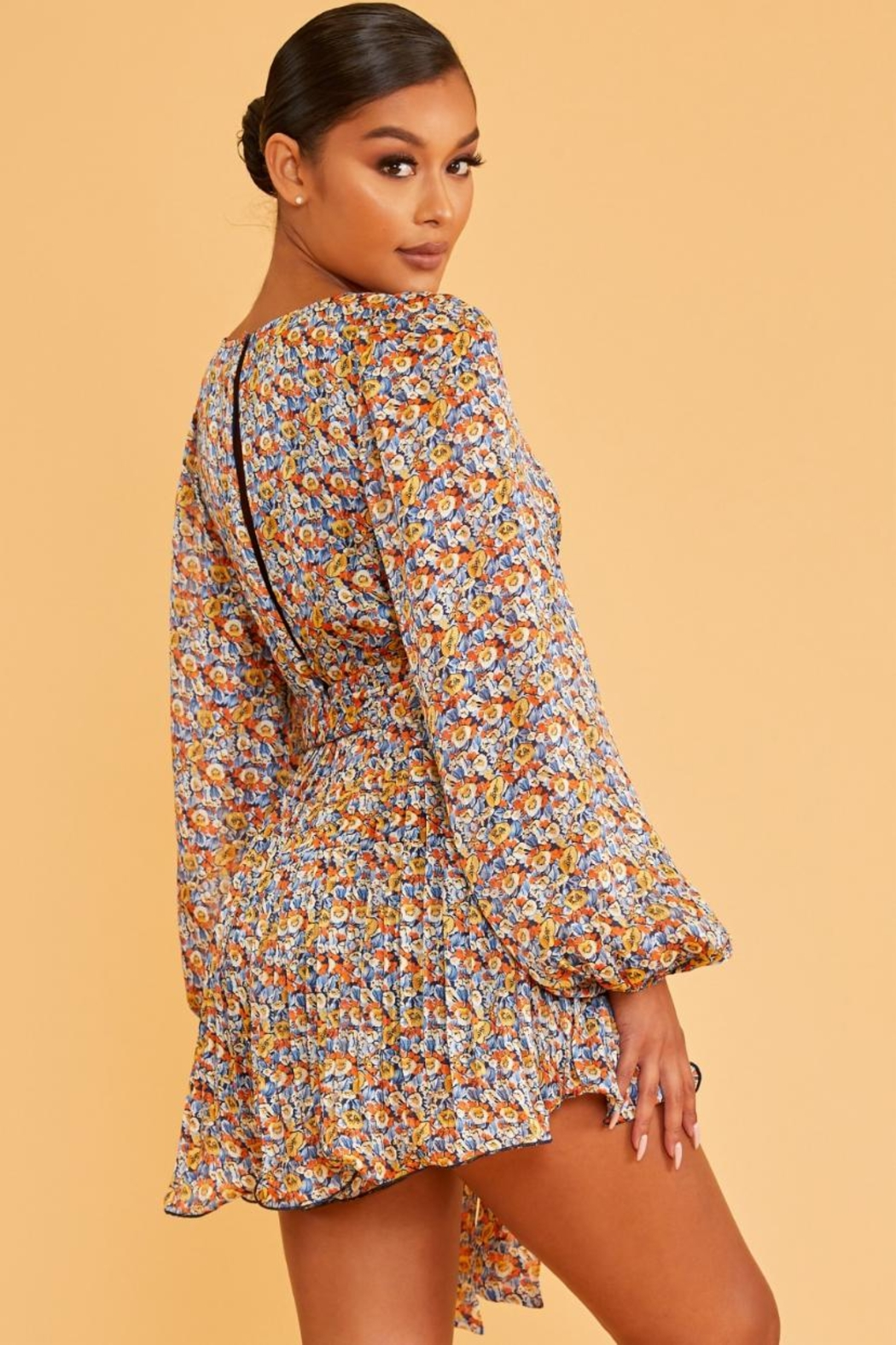 luxxel Pleated Floral Romper - Front Full Image