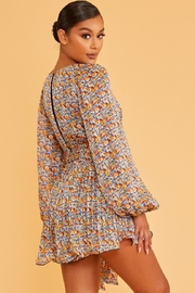 luxxel Pleated Floral Romper - Front full body