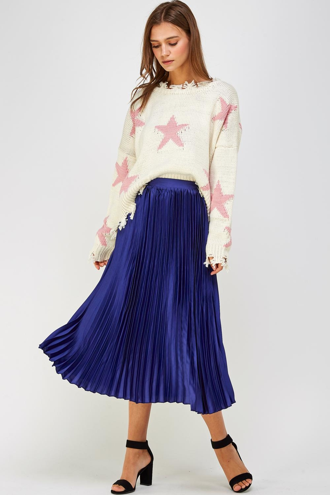luxxel Pleated Midi Skirt - Front Full Image