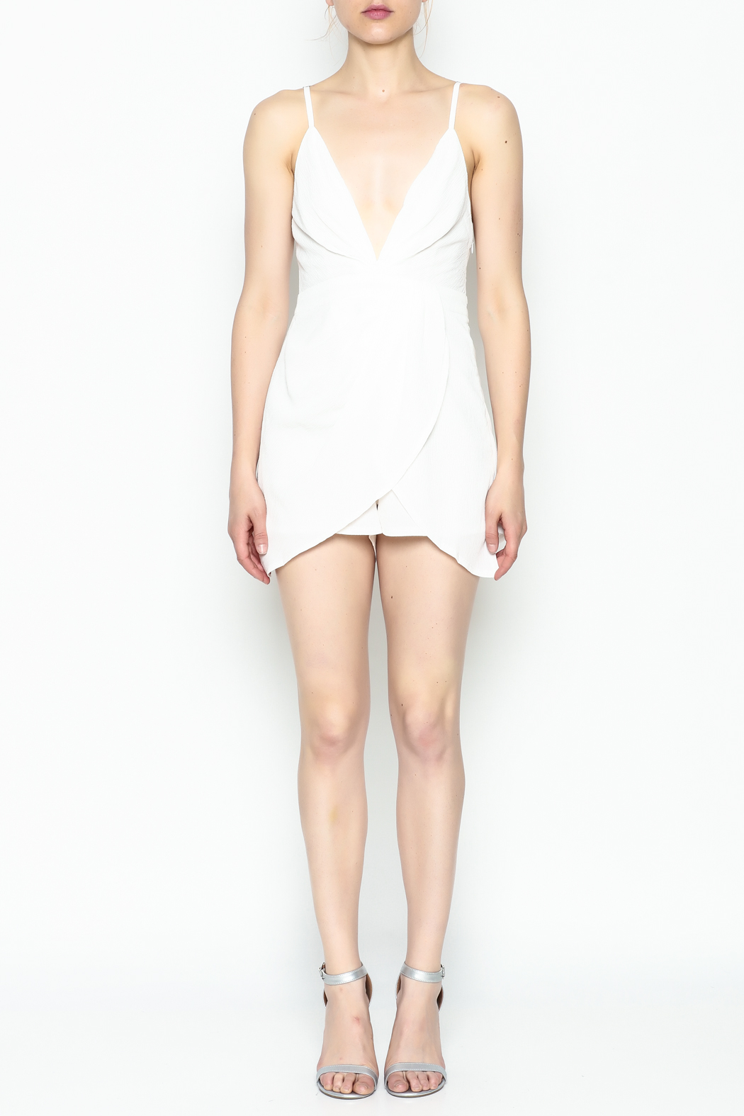 luxxel Pleated Romper - Front Full Image