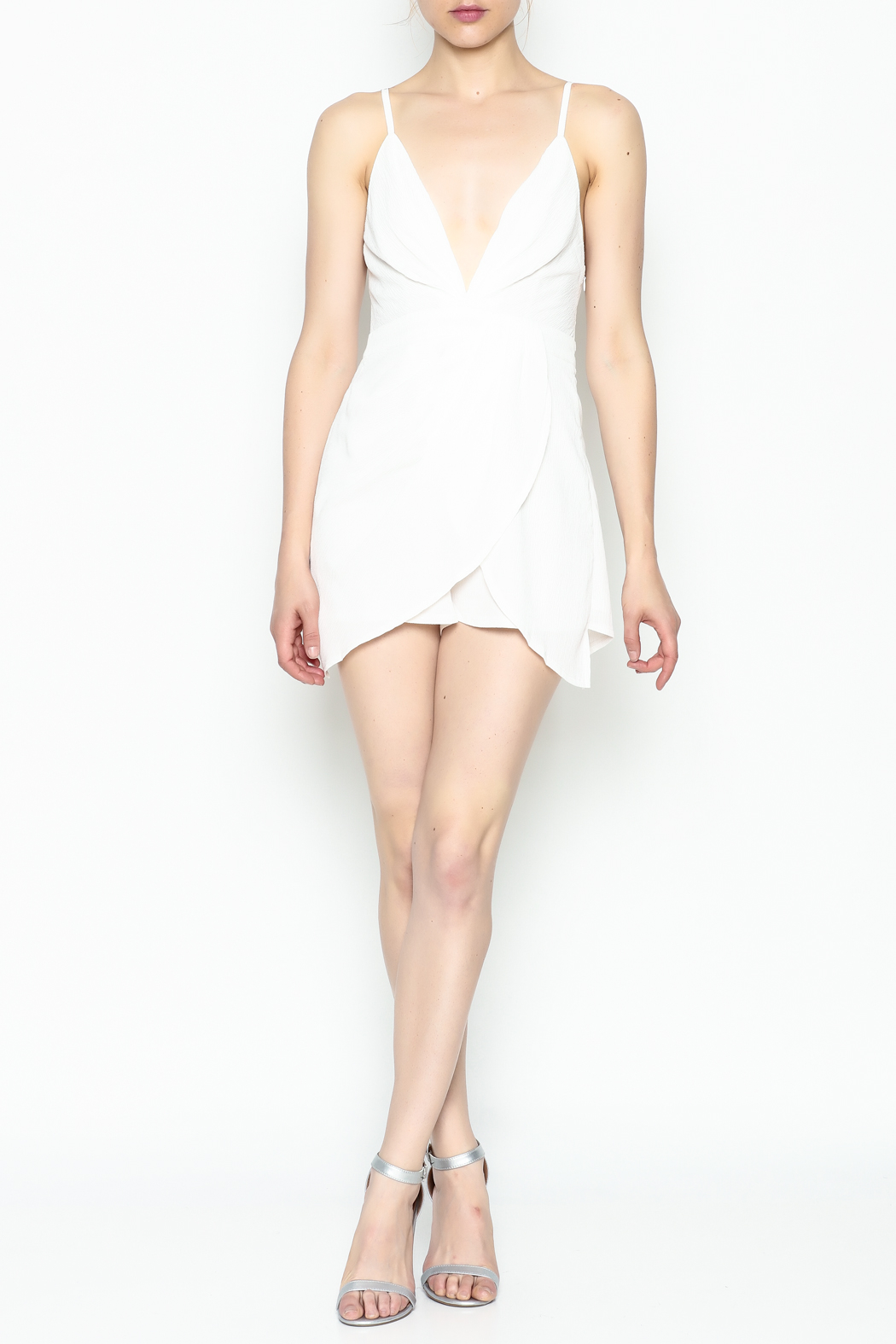 luxxel Pleated Romper - Front Cropped Image