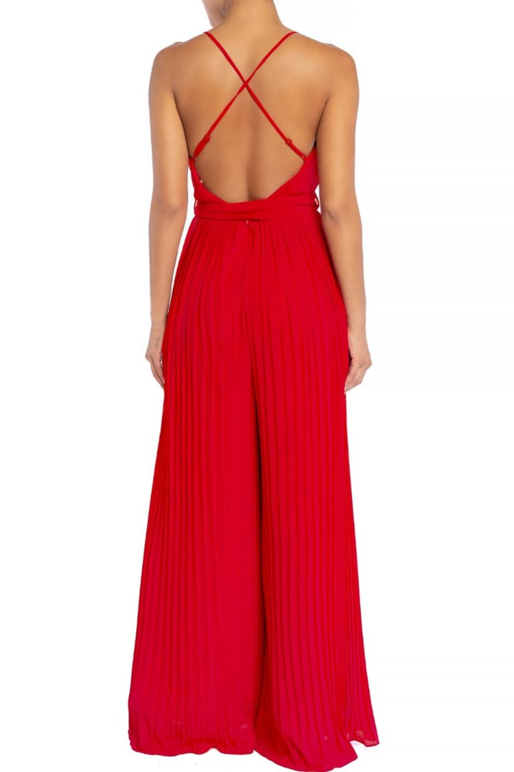 luxxel Pleated Wide-Pants Jumpsuit - Front Full Image