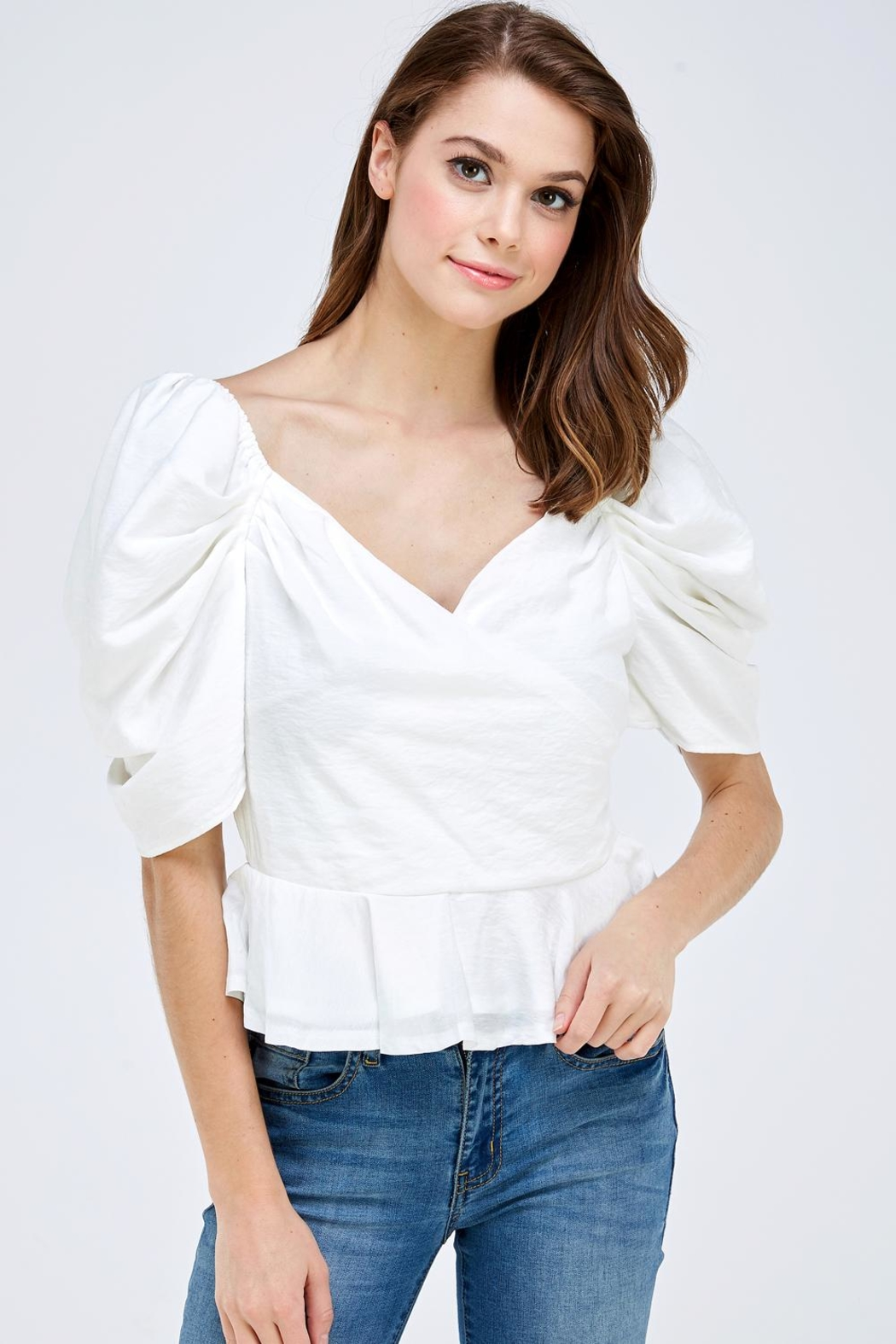 luxxel Puff Sleeve Blouse - Front Full Image