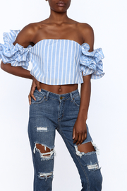 luxxel Blue Stripe Crop Top - Front cropped