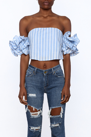 luxxel Blue Stripe Crop Top - Side cropped