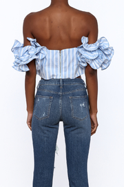 luxxel Blue Stripe Crop Top - Back cropped