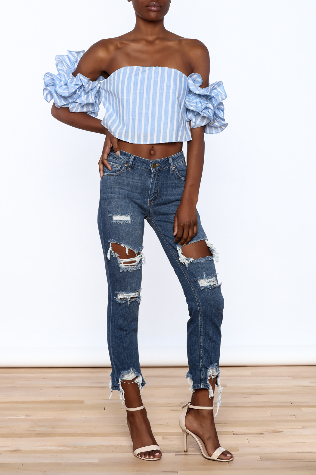 luxxel Blue Stripe Crop Top - Front Full Image