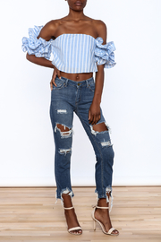 luxxel Blue Stripe Crop Top - Front full body