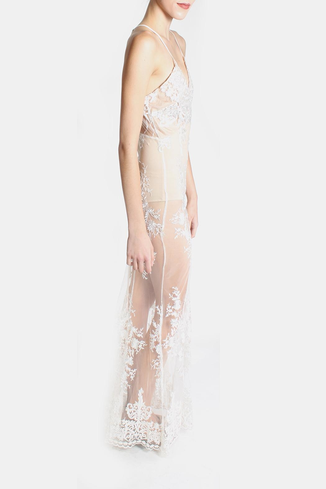 luxxel Glamour Bodysuit Lace Dress - Side Cropped Image