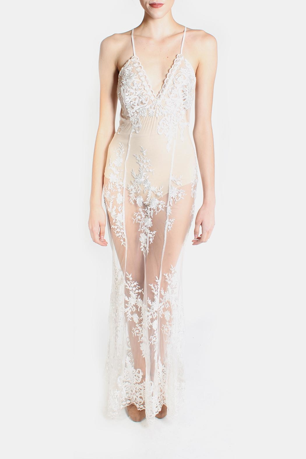 luxxel Glamour Bodysuit Lace Dress - Front Full Image