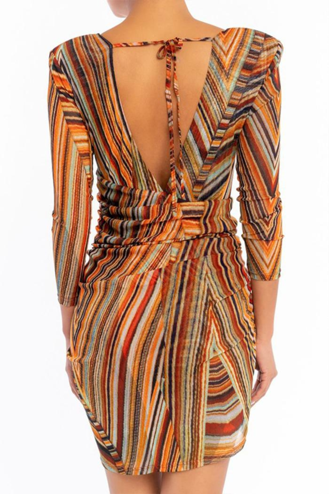 luxxel Rainbow Mesh Dress - Front Full Image