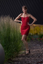 luxxel Red Pearl Dress - Product Mini Image