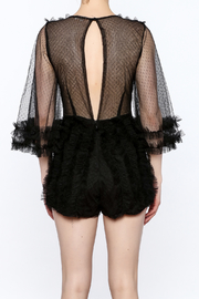 luxxel Black Ruffle Romper - Back cropped