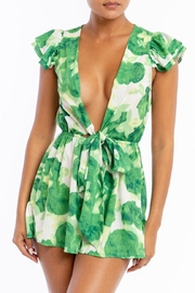 luxxel Ruffle Tie Romper - Front cropped