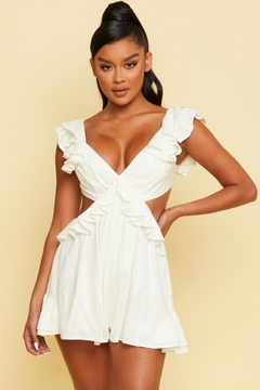 luxxel Ruffled Linen Romper - Product List Image