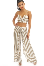 luxxel Ruffled Stripe Pant-Set - Front cropped