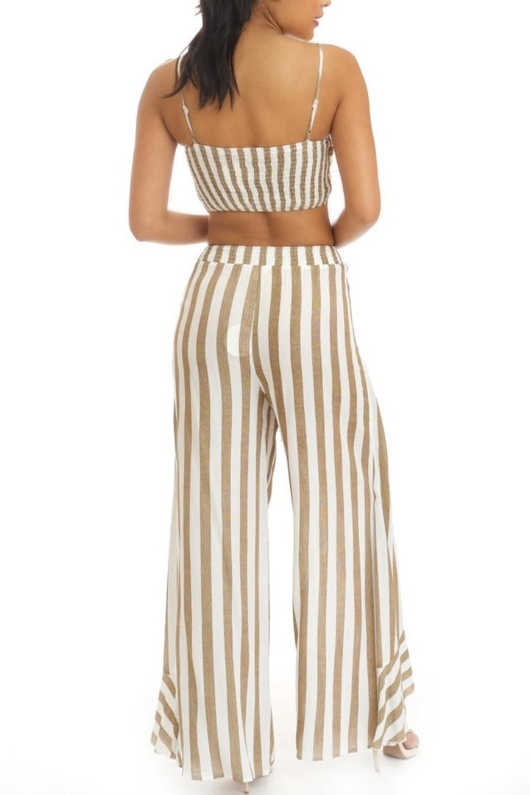 luxxel Ruffled Stripe Pant-Set - Front Full Image